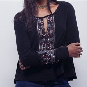 Free People Embroidered Marion Waffle Thermal Top